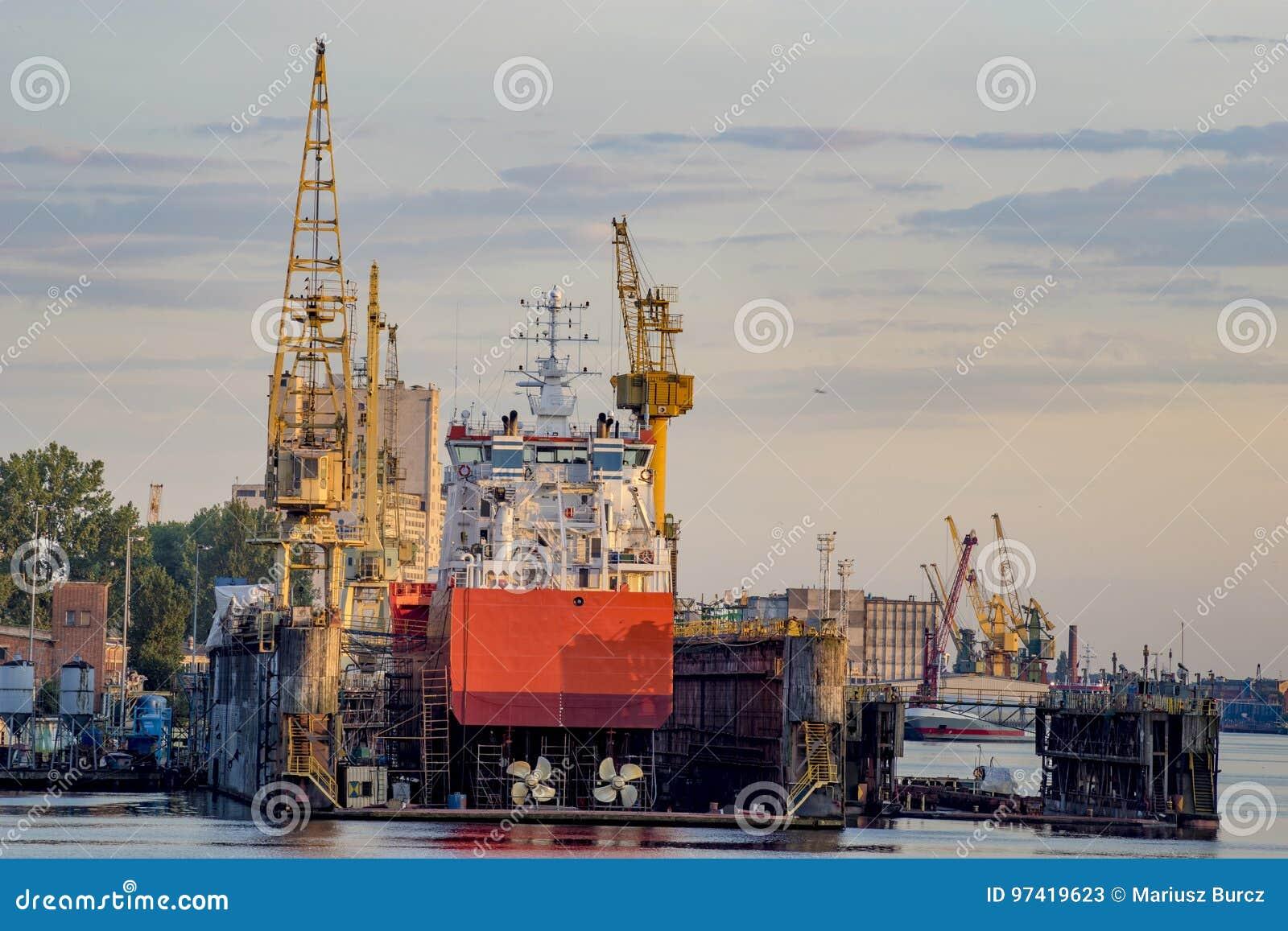 Ships in repair yard