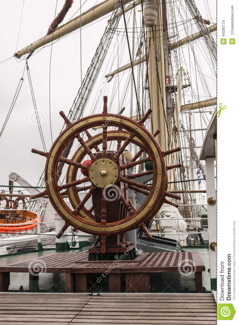 Ships wheel on the dec...