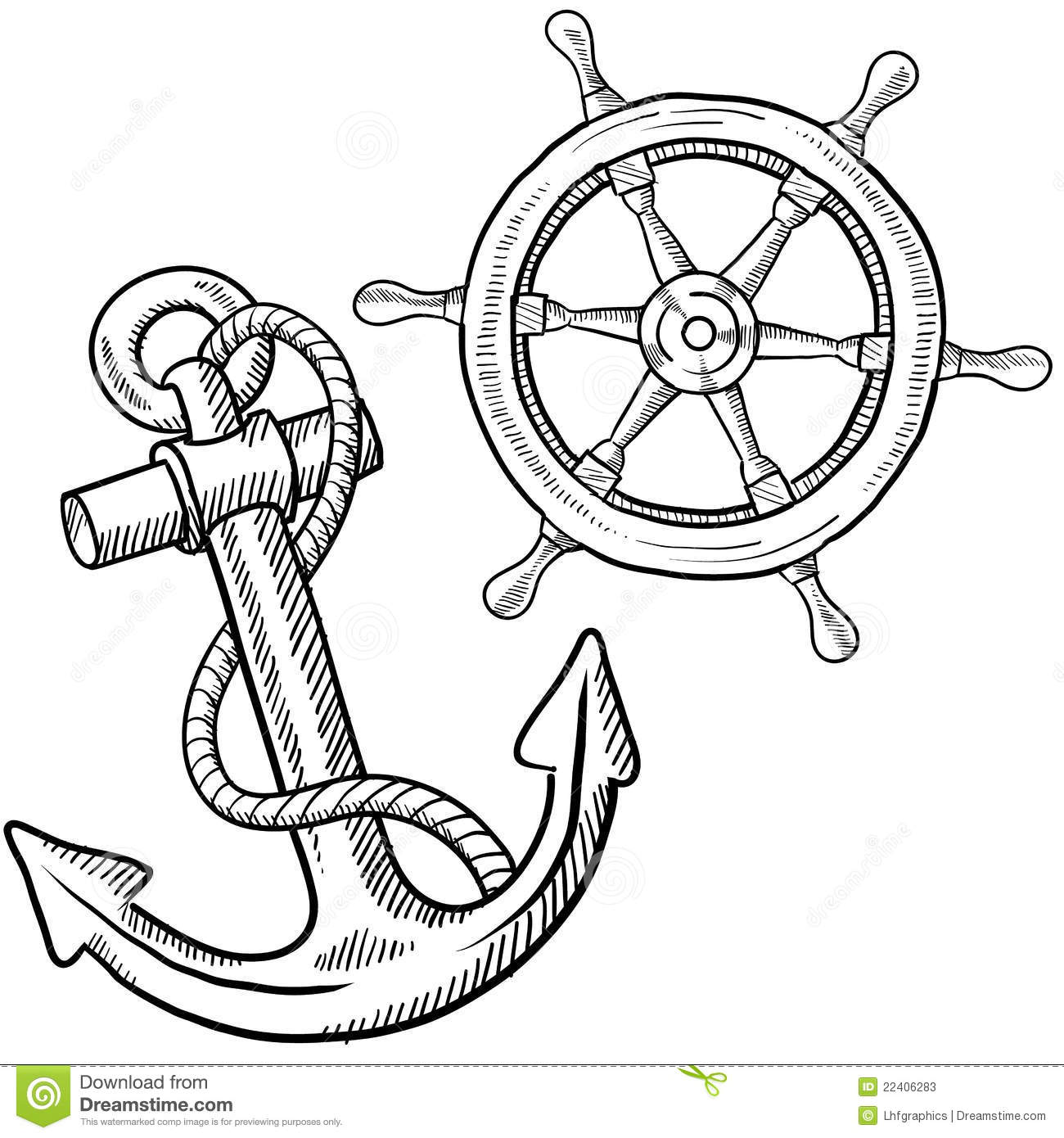 Drawing: Ships Wheel And Anchor Drawing Stock Photos