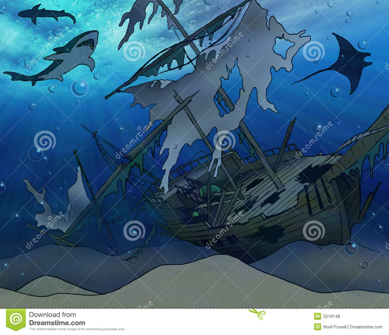 Shipwreck Illustration Royalty Free Stock Photos - Image: 3216148