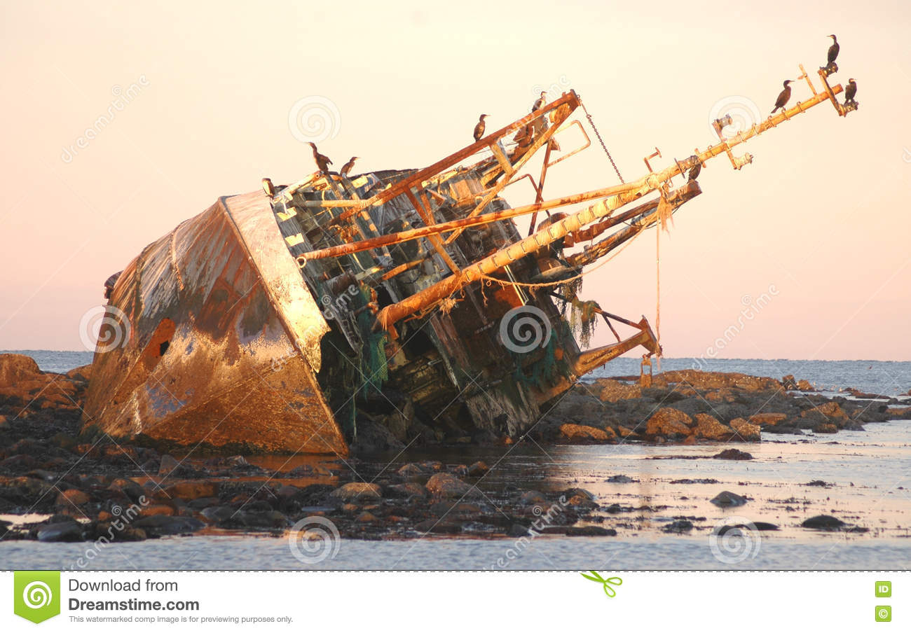 Shipwreck On The North East Coast Stock Image - Image of