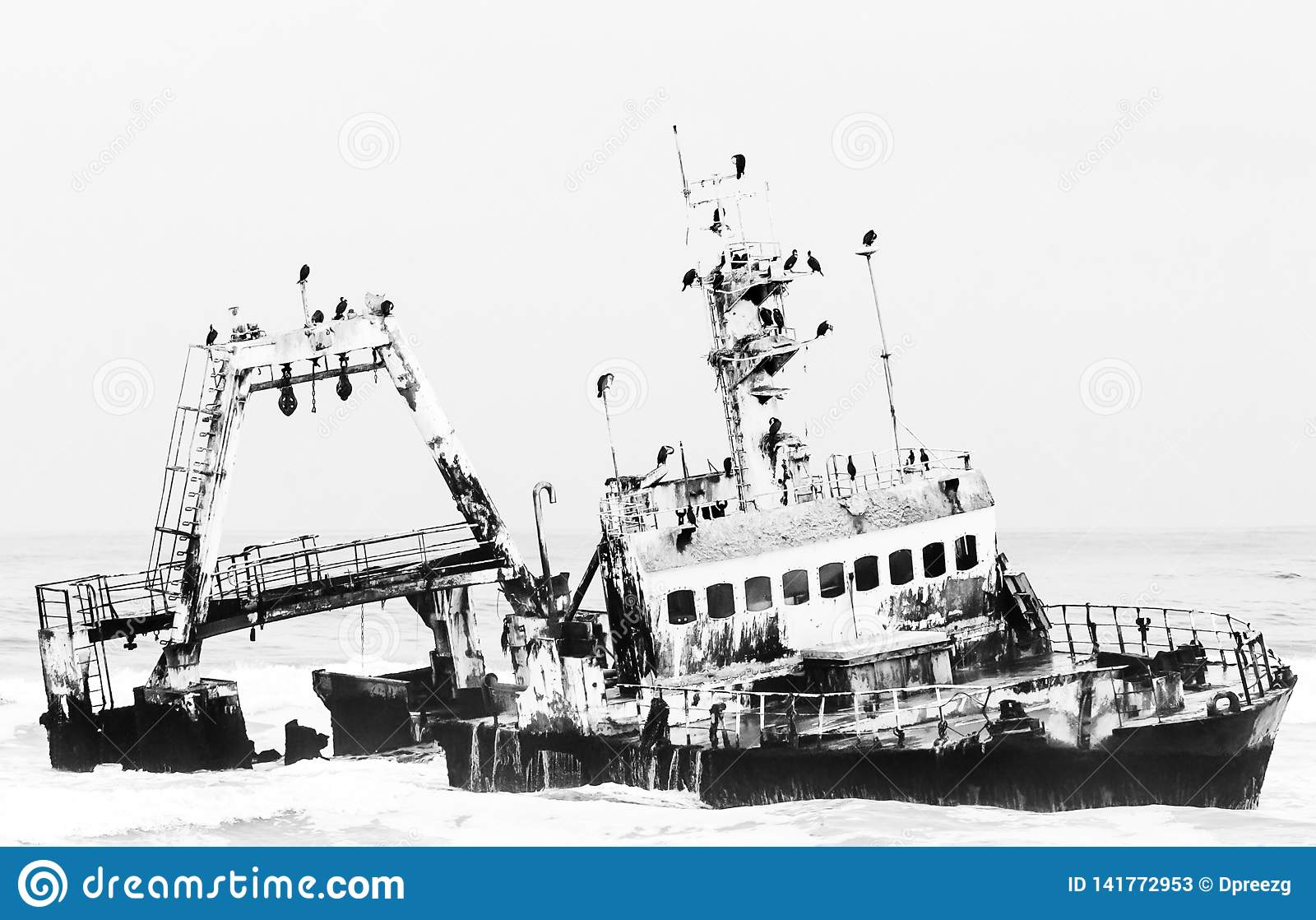 Shipwreck of the Zeila near Henties Bay. Monochrome