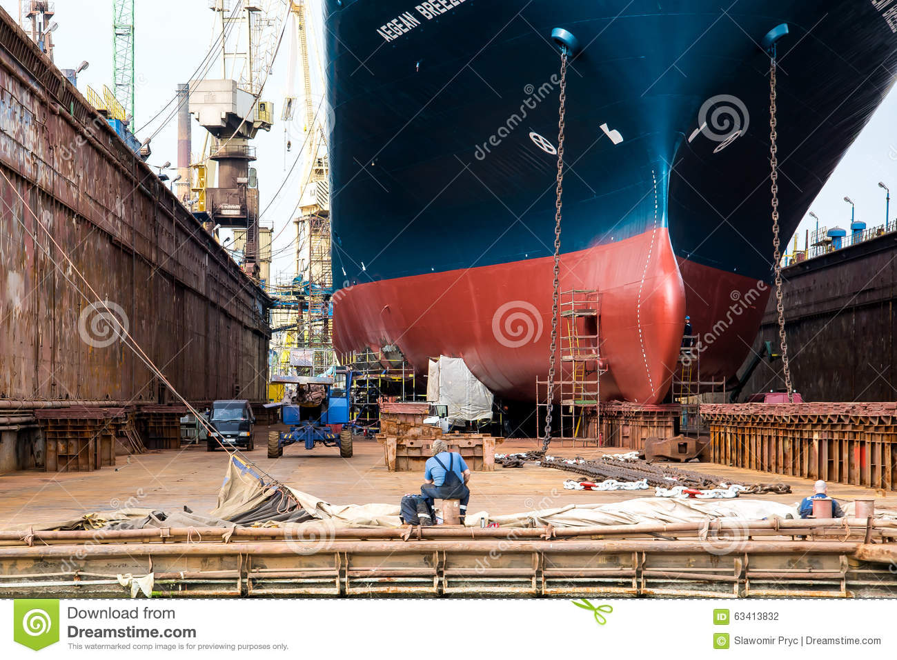 The shipyard workers during a break