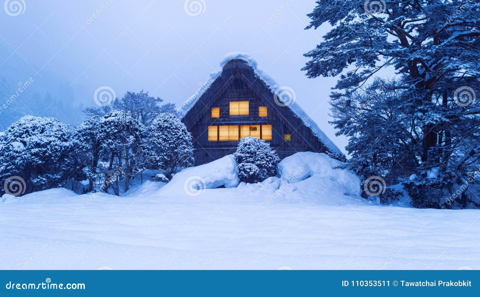 Shirakawa-ga dorp in de winter, Unesco-de plaatsen van de werelderfenis, Japan