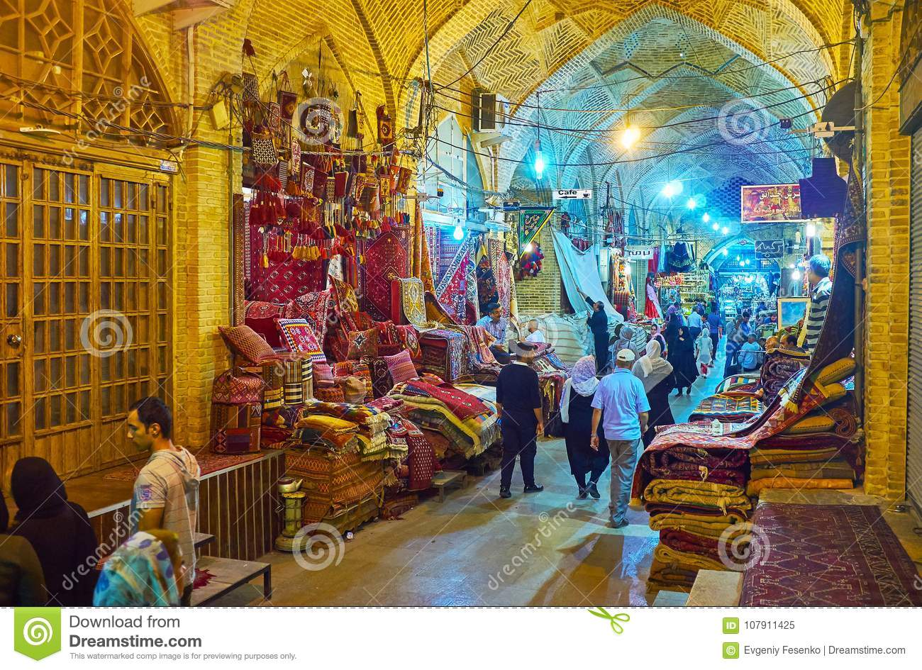 Shiraz iran october 12 2017 the unique atmosphere of traditional eastern market vakil bazaar with carpet stores authentic goods and local vendors