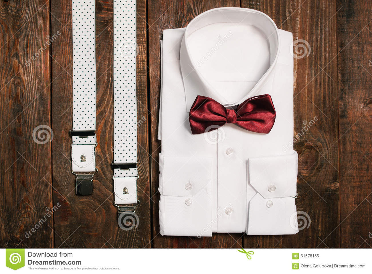 22038599be2c Stylish collection of men's clothing. Marsala tie , funky suspenders, a  white shirt - wedding set for the groom . top view.