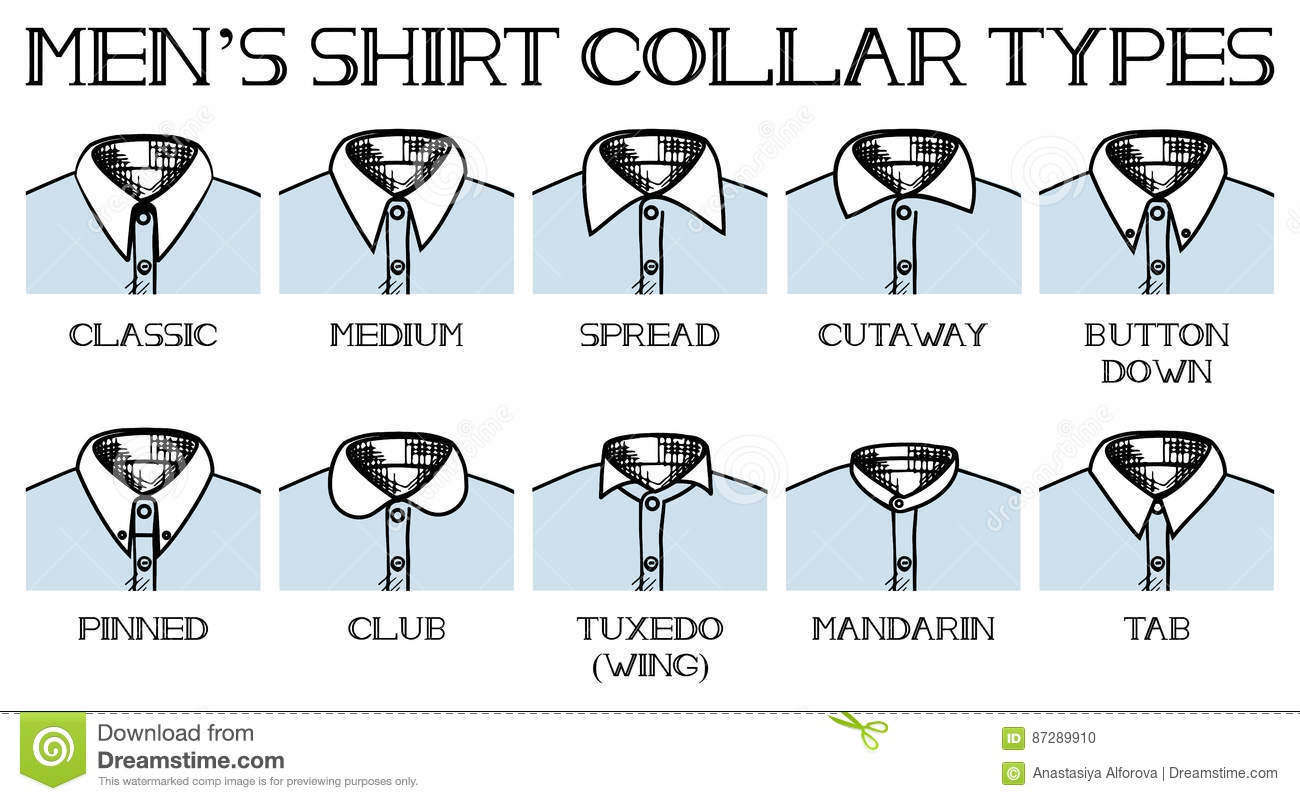 Shirt collars types stock vector illustration of club for Different types of dress shirt collars