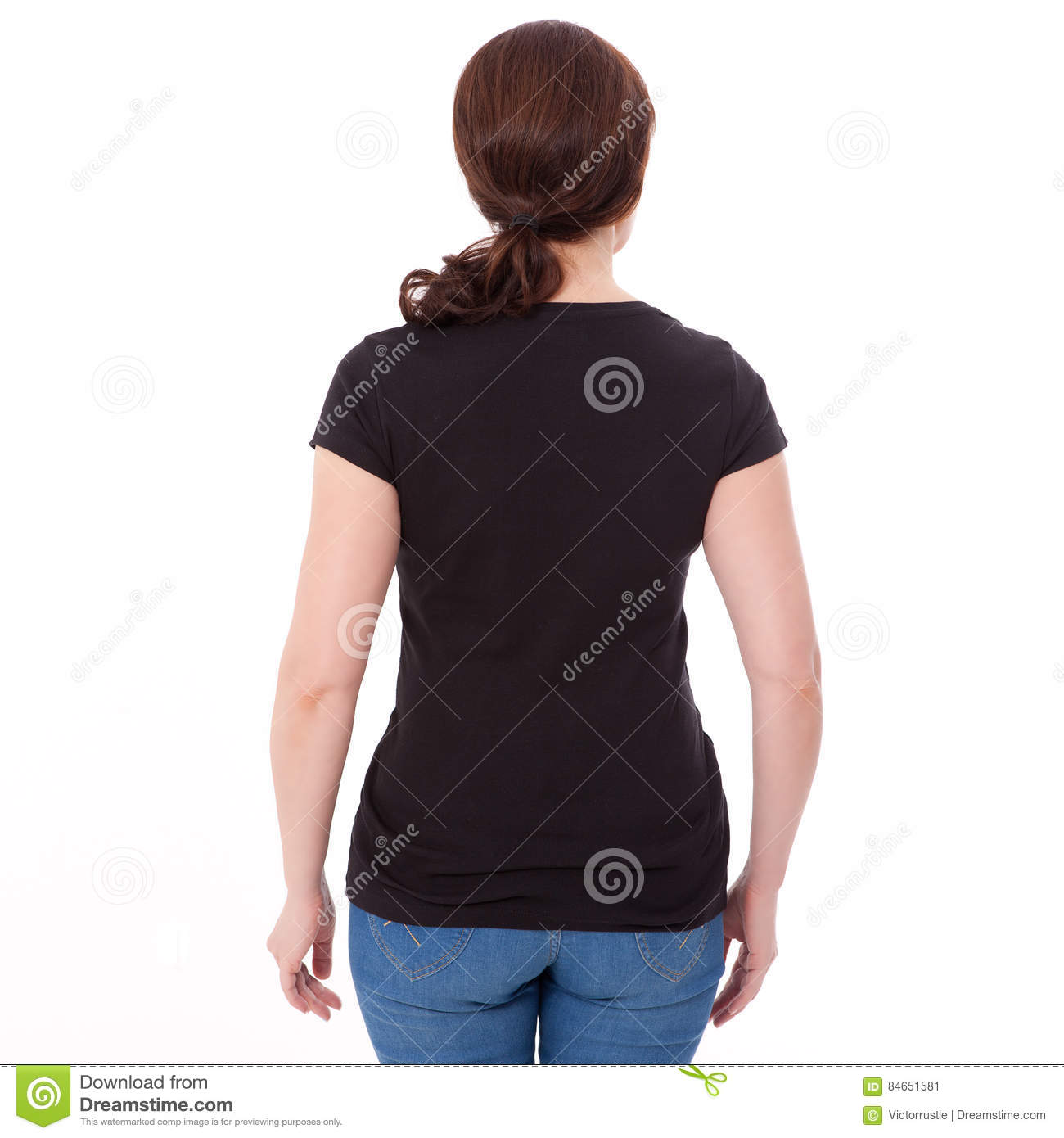 shirt design and people concept close up of woman in blank black t