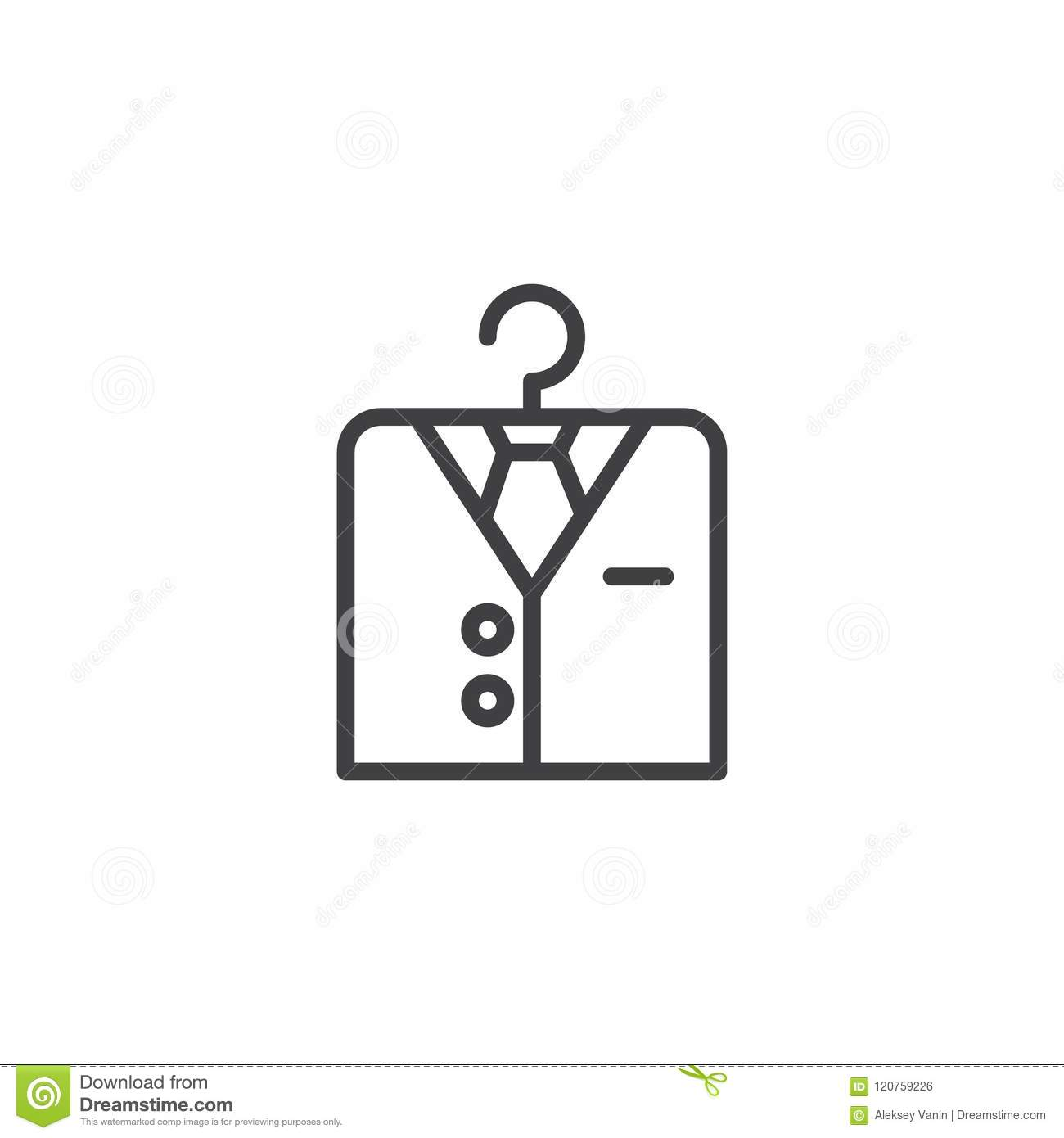 Shirt On Hanger Outline Icon Stock Vector Illustration Of Suit