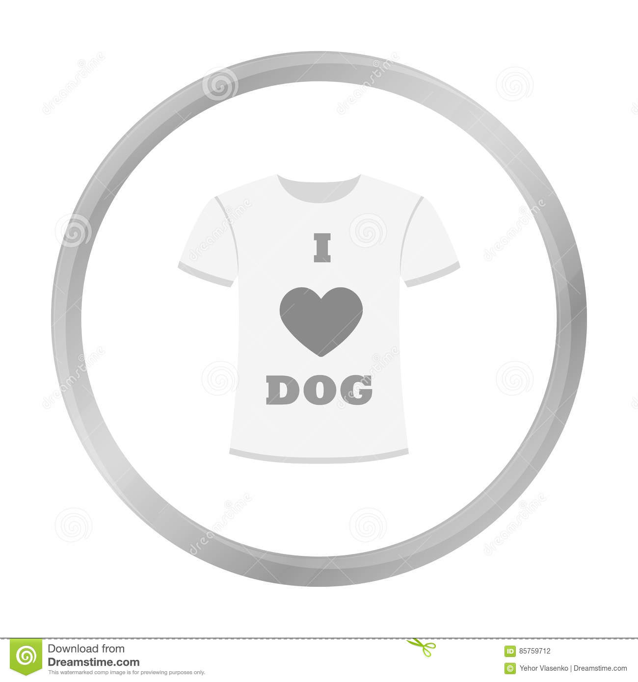 Shirt I love dogs vector icon in monochrome style for web