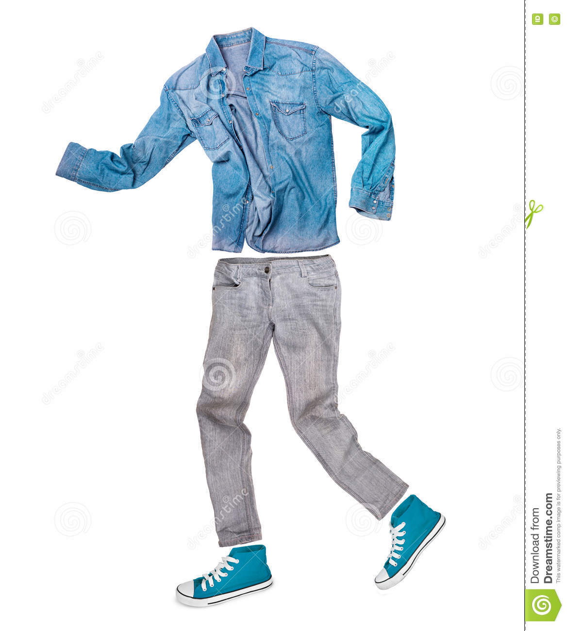 Shirt With Jeans And Sneakers On A White Background Stock ...