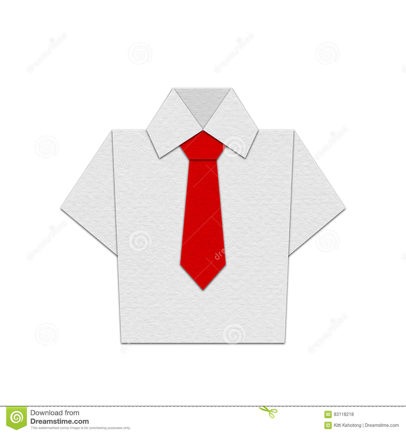 Shirt Origami With Tie Vector Design Stock Illustration
