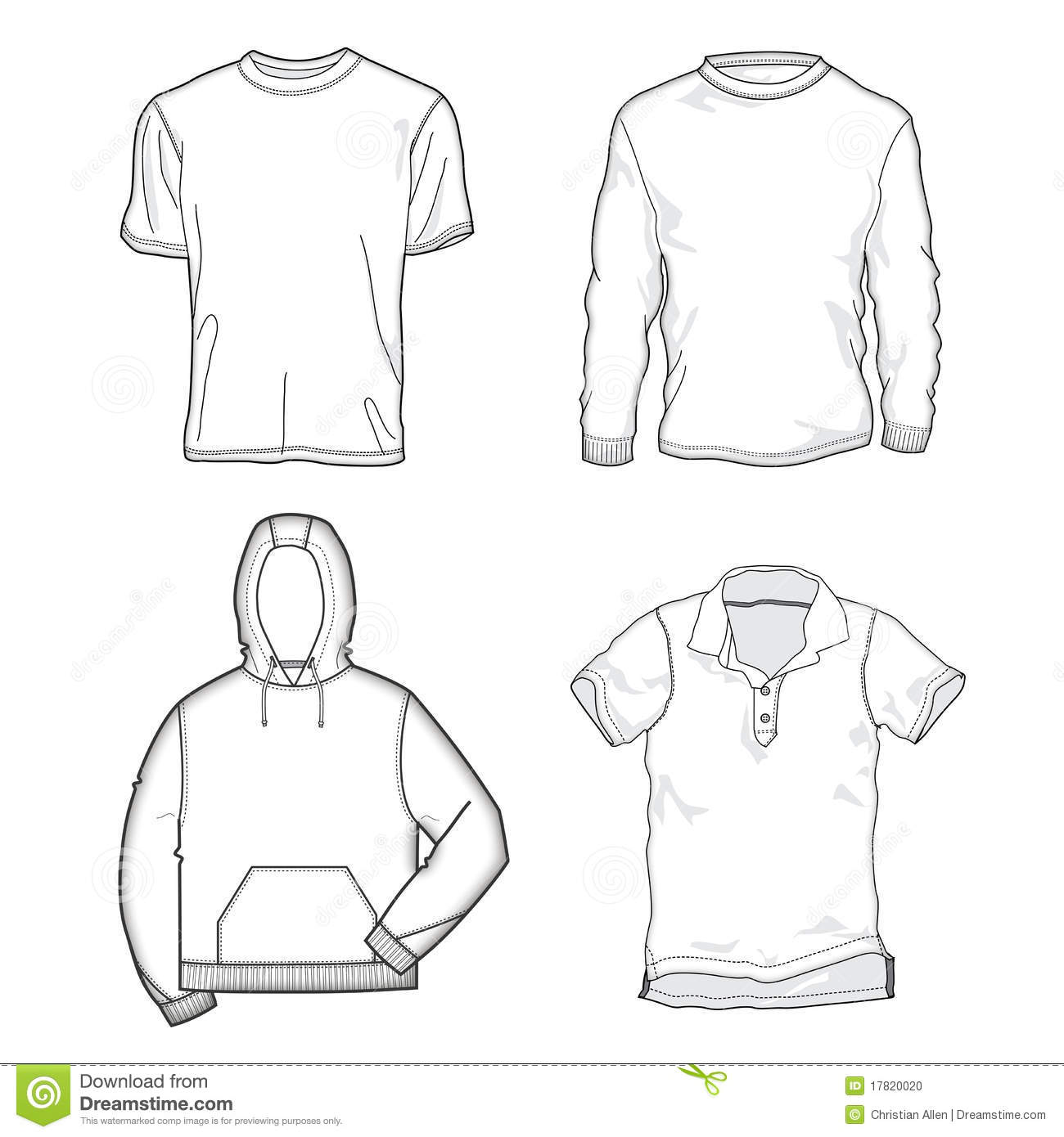 group of vector shirt templates perfect for adding your own graphic