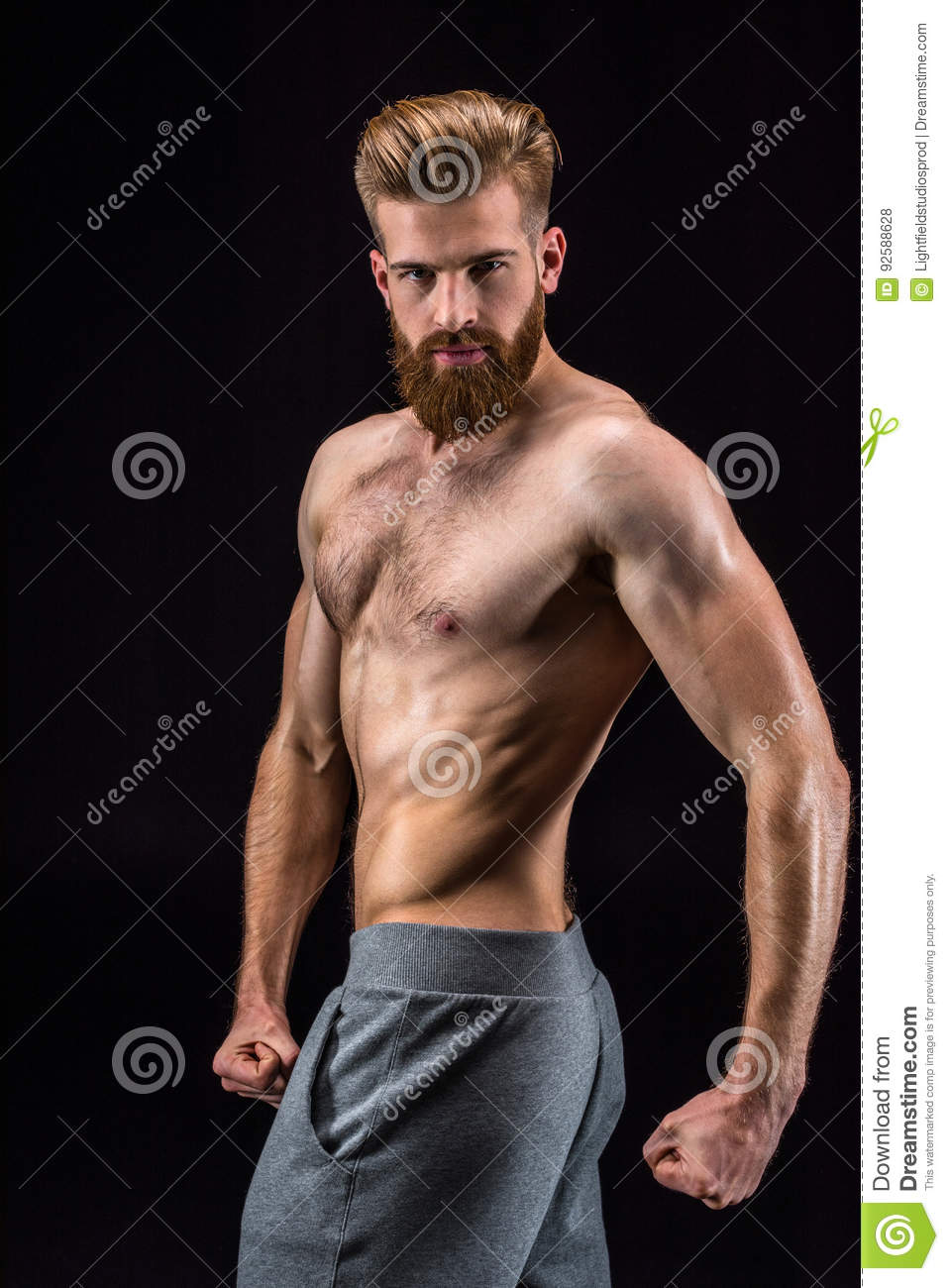 Handsome Young Bodybuilder Shirtless, Smiling And Isolated