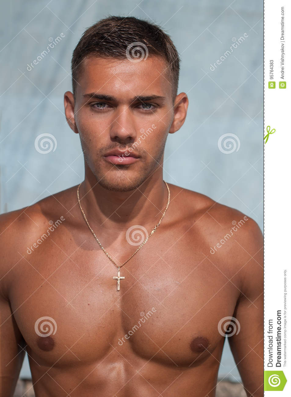 Shirtless male model