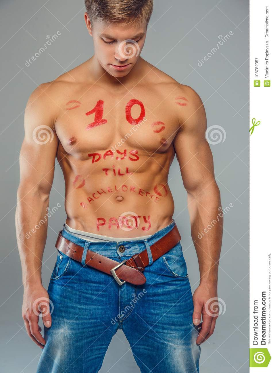 98e4675e Muscular Man In Blue Jeans. Stock Image - Image of pectoral, healthy ...