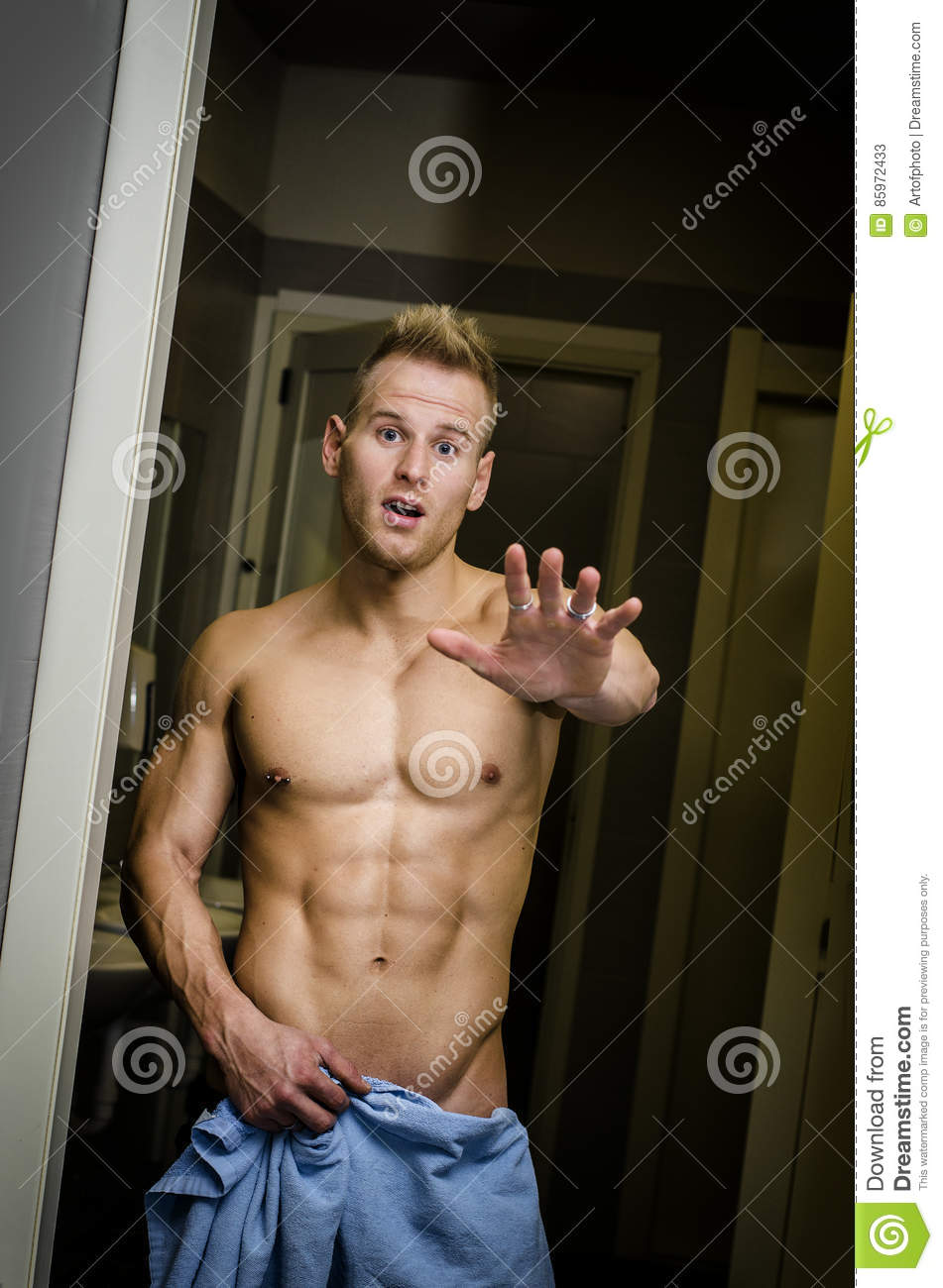 Shirtless Muscular Young Male Athlete In Gym Bathroom -2446
