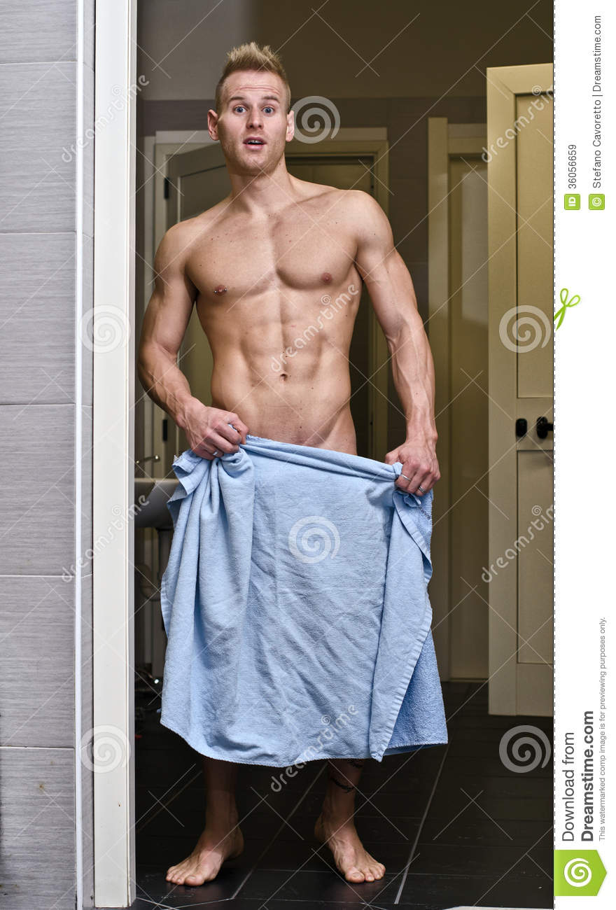 Shirtless Muscular Young Male Athlete In Gym Bathroom -7574