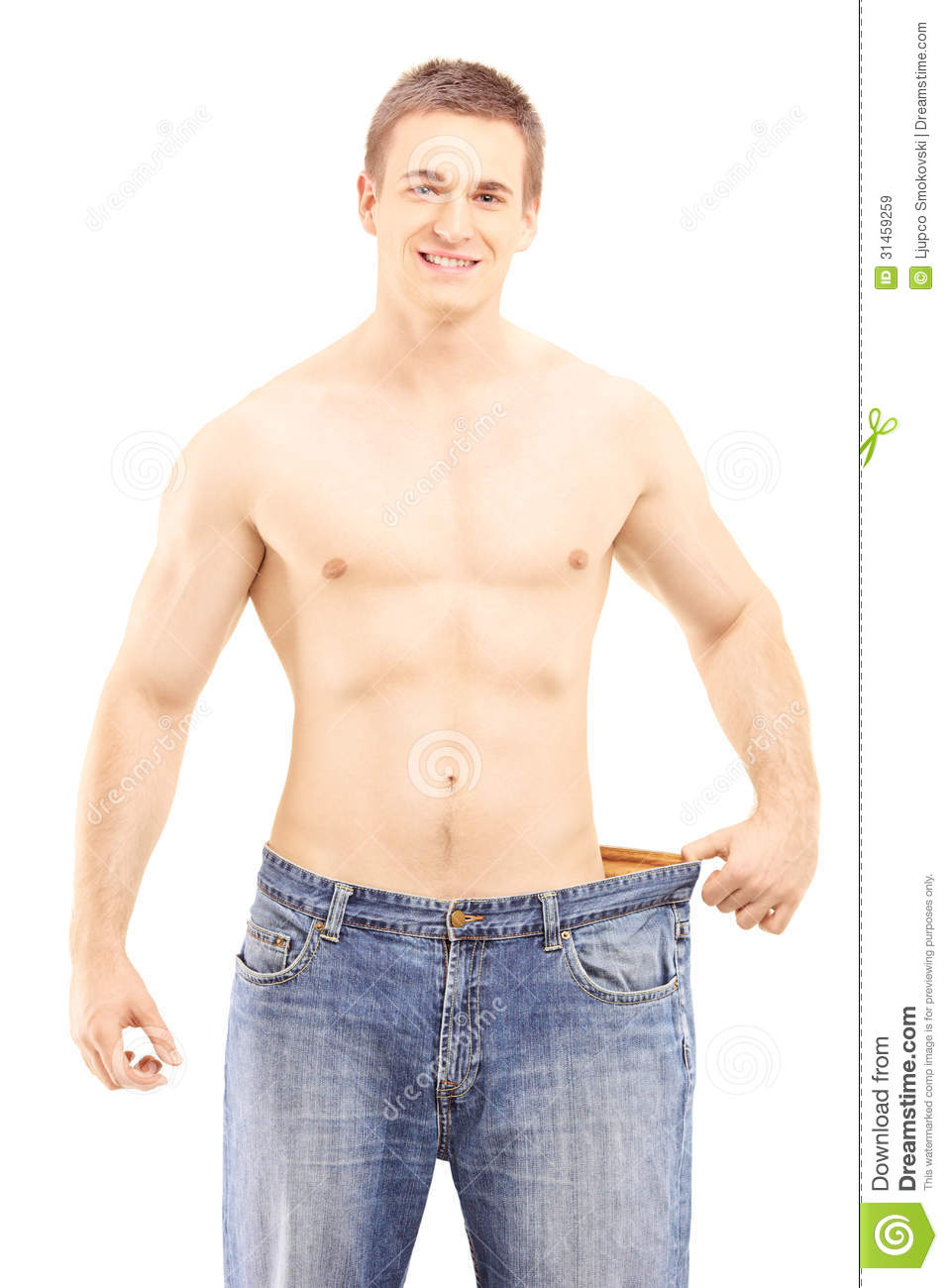 Shirtless Smiling Male Showing His Lost Weight By Putting ...