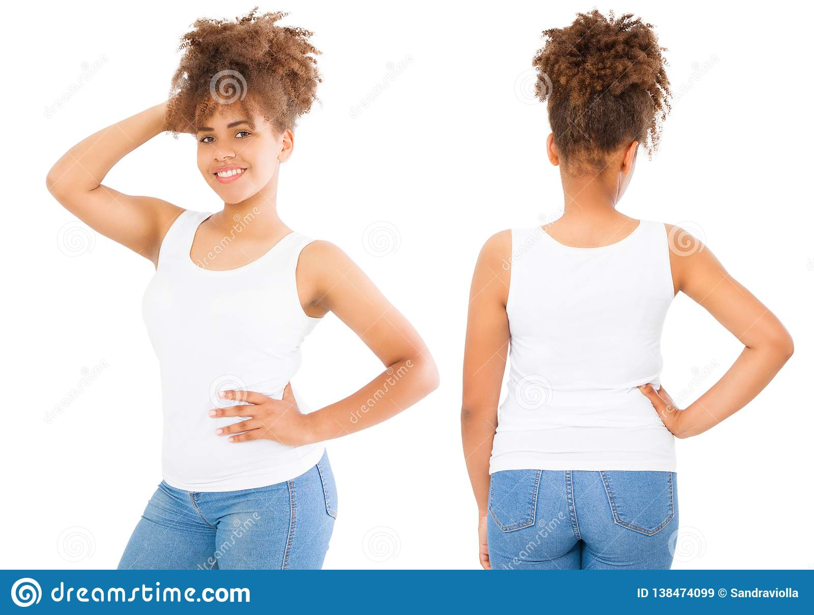 Shirts set. Summer t shirt design and close up of young afro american woman in blank template white t-shirt. Mock up. Copy space.