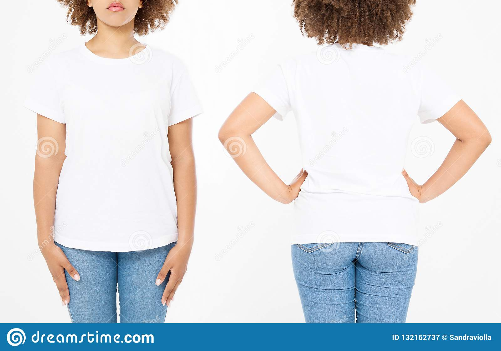 Shirts Set Summer T Shirt Design And Close Up Of Young Afro American Woman In Blank Template White Mock Copy Space Curly Hair Front Back
