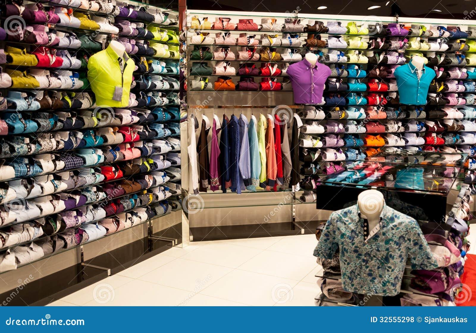 best service 8e1e7 cecea Shirts shop interior stock photo. Image of clothes, design ...