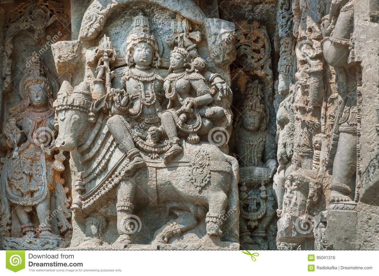 Shiva, Parvati And Bull Nandi On Wall Of Indian Temple