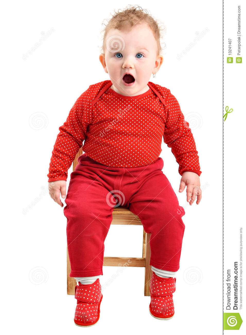shocked baby girl dressed in red isolated on white stock image image 13241407. Black Bedroom Furniture Sets. Home Design Ideas