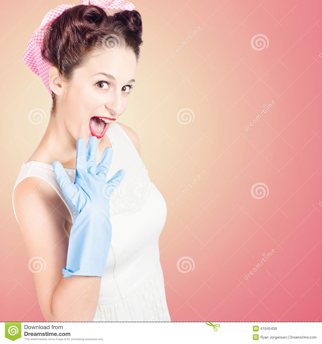 Shocked Pin-up Cleaner Girl With Funny Expression Stock