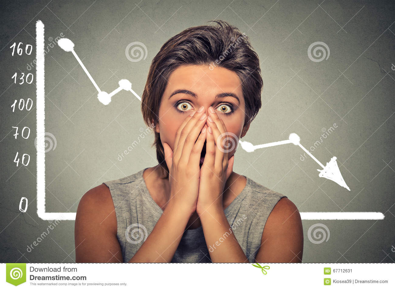 Shocked scared woman with financial market chart graphic going down