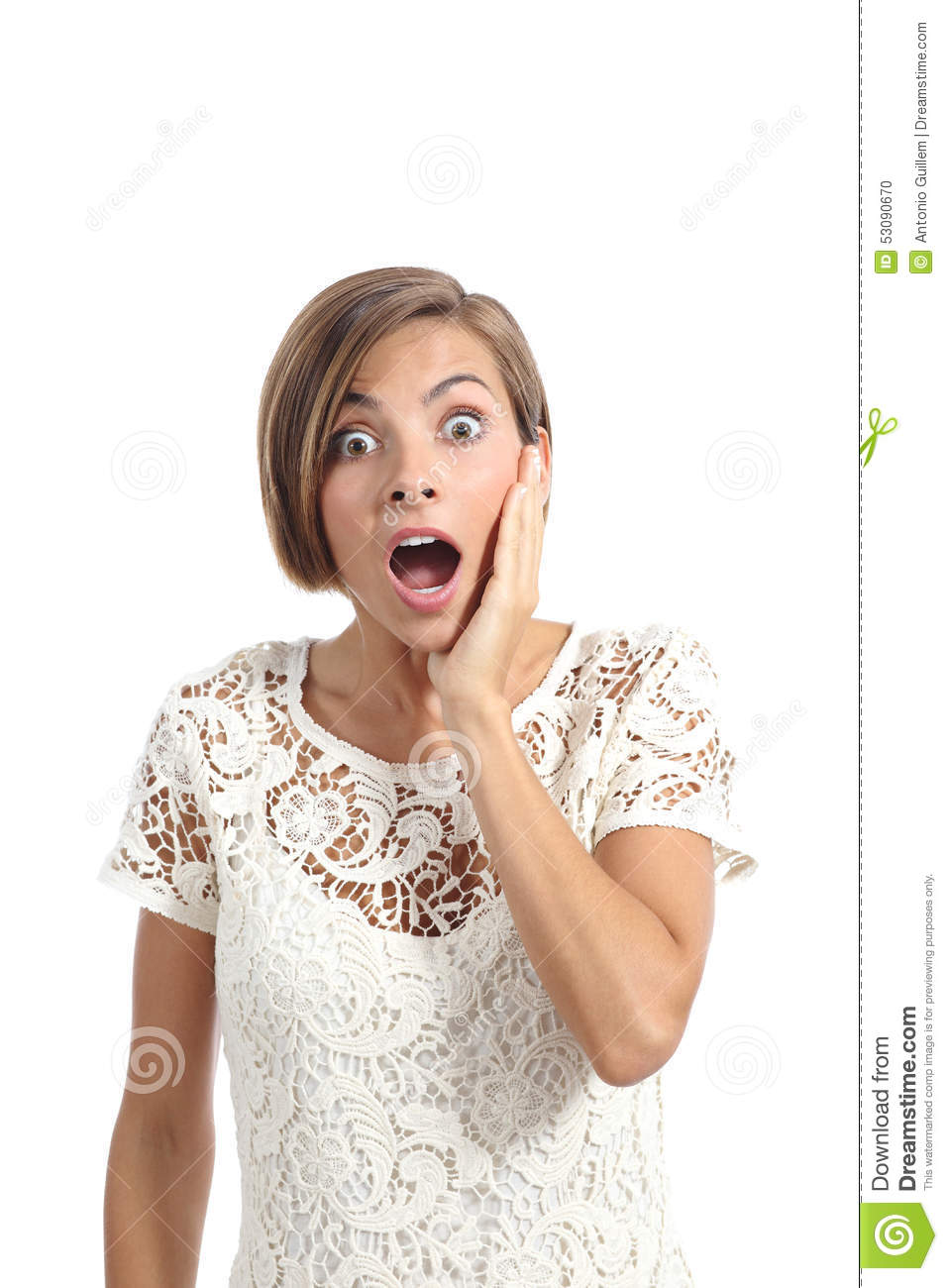 Download Shocked Or Surprised Woman With A Hand On Face Expressing Wow Stock Photo - Image of cheeks, background: 53090670