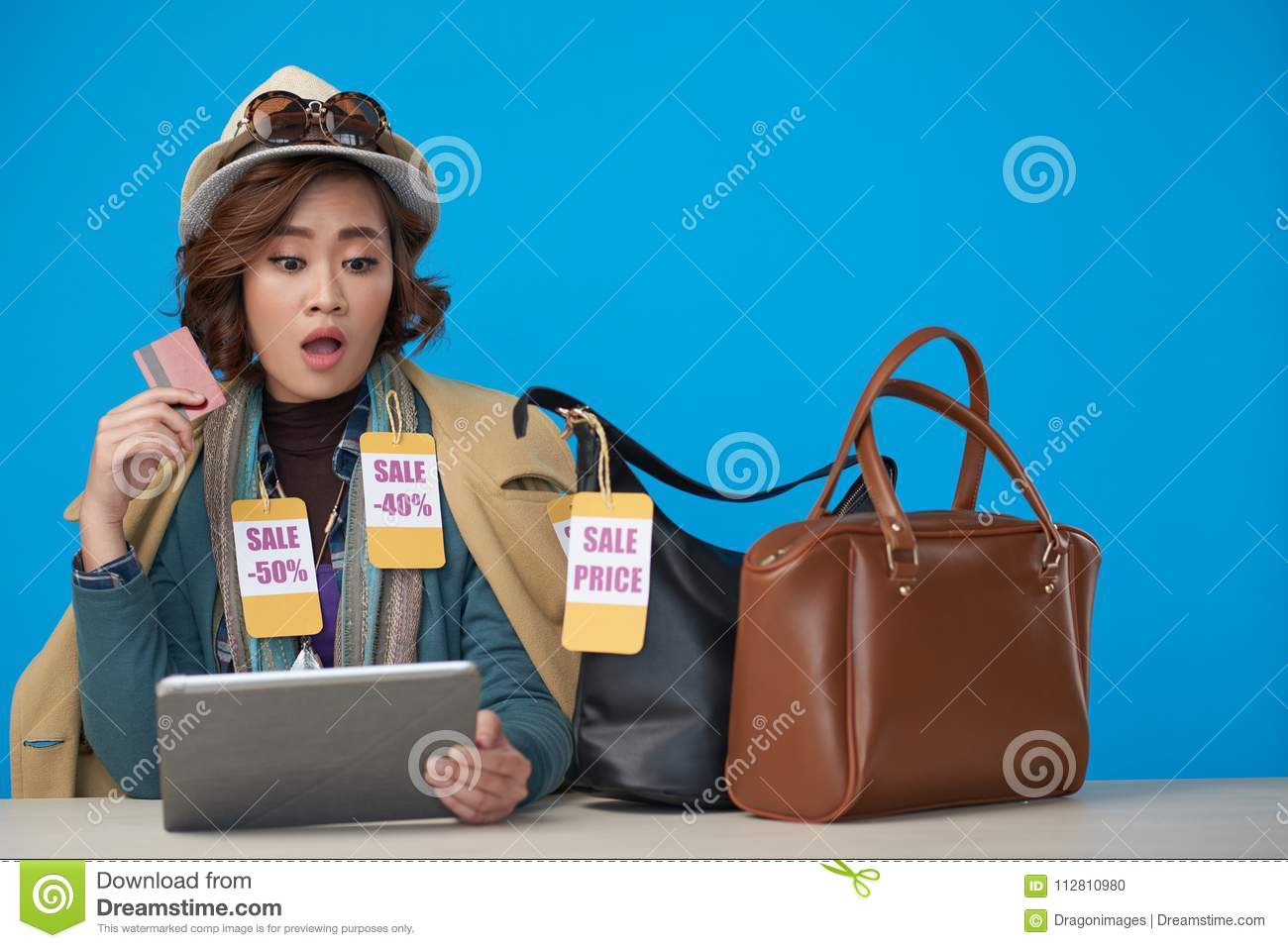 Shopaholic Buying Clothes Online Stock Photo - Image of