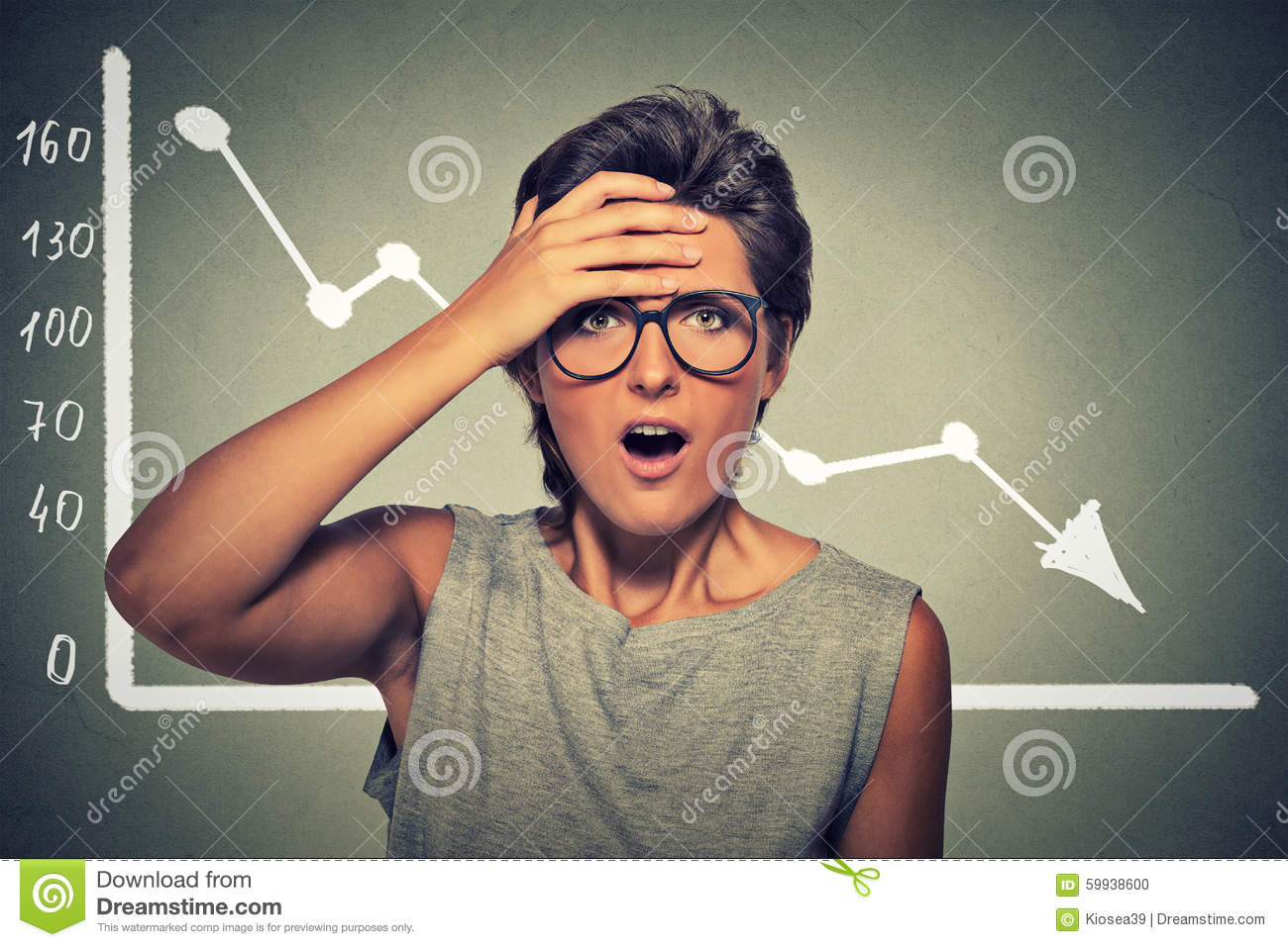 Shocked woman with financial market chart graphic going down