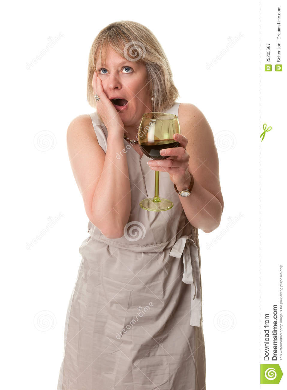 Shocked Woman Hand To Face With Wine Royalty Free Stock