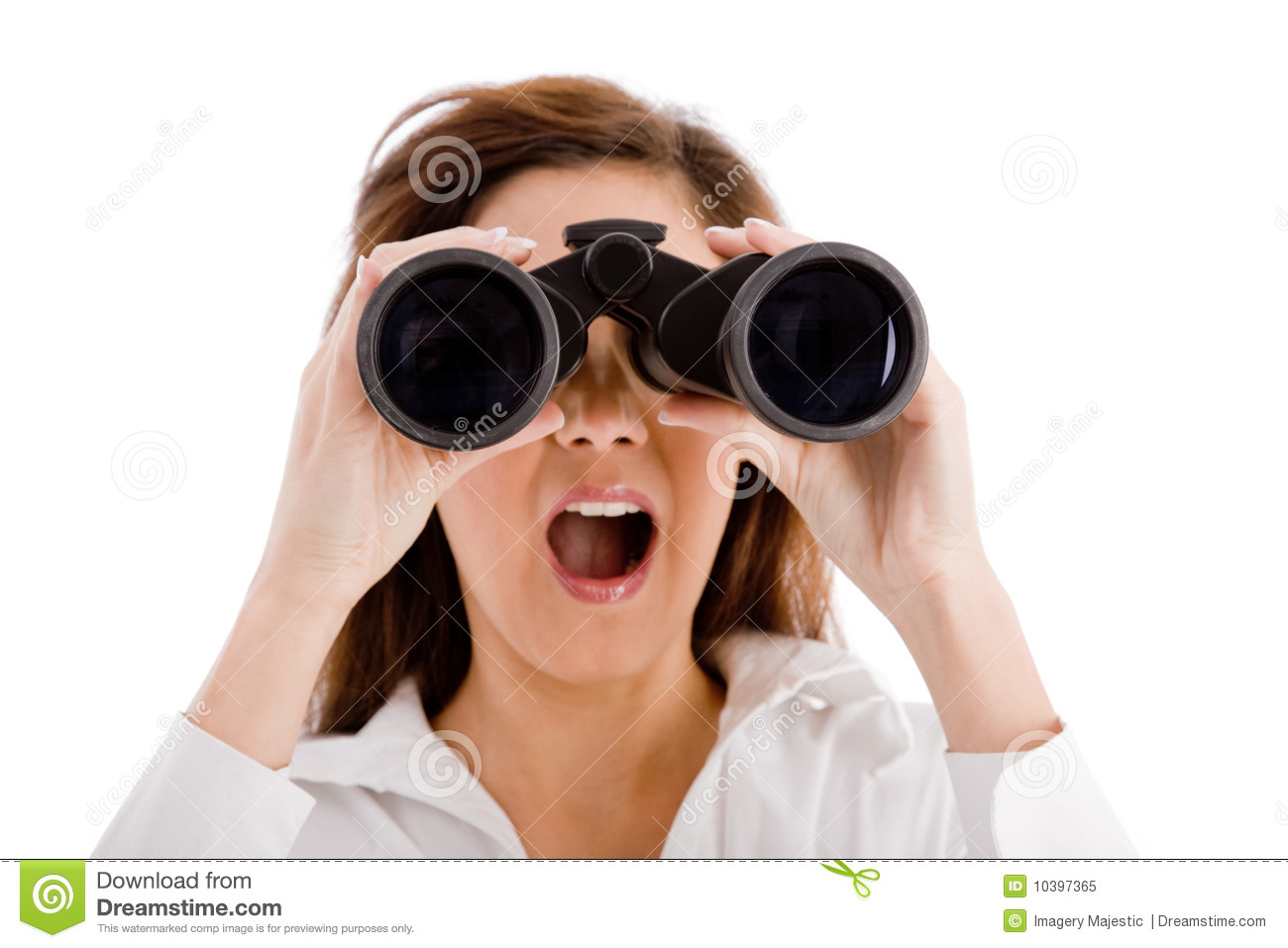 Shocked Woman Looking Through Binocular Stock Image ...