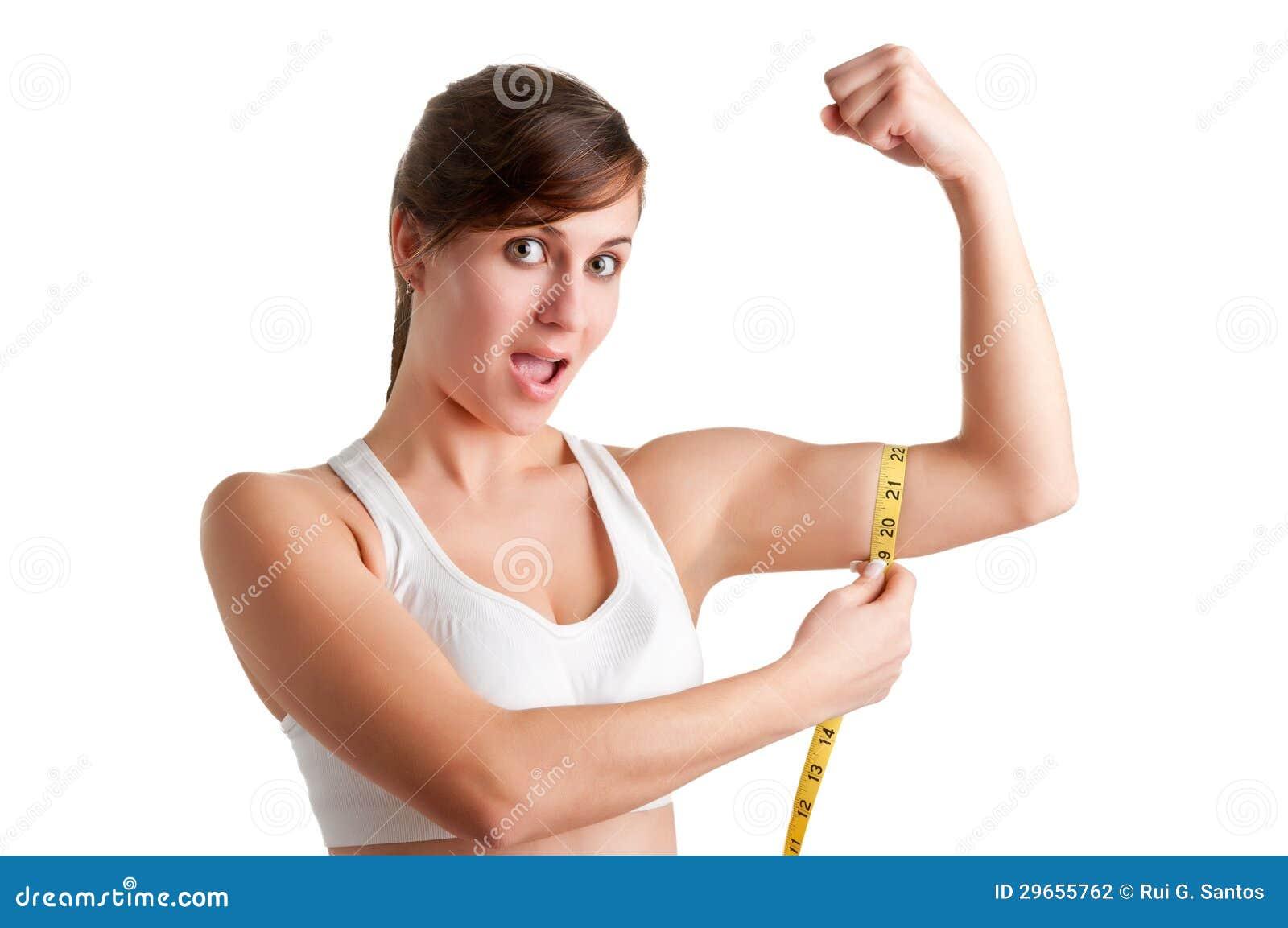 shocked woman measuring her biceps stock photography image 29655762. Black Bedroom Furniture Sets. Home Design Ideas