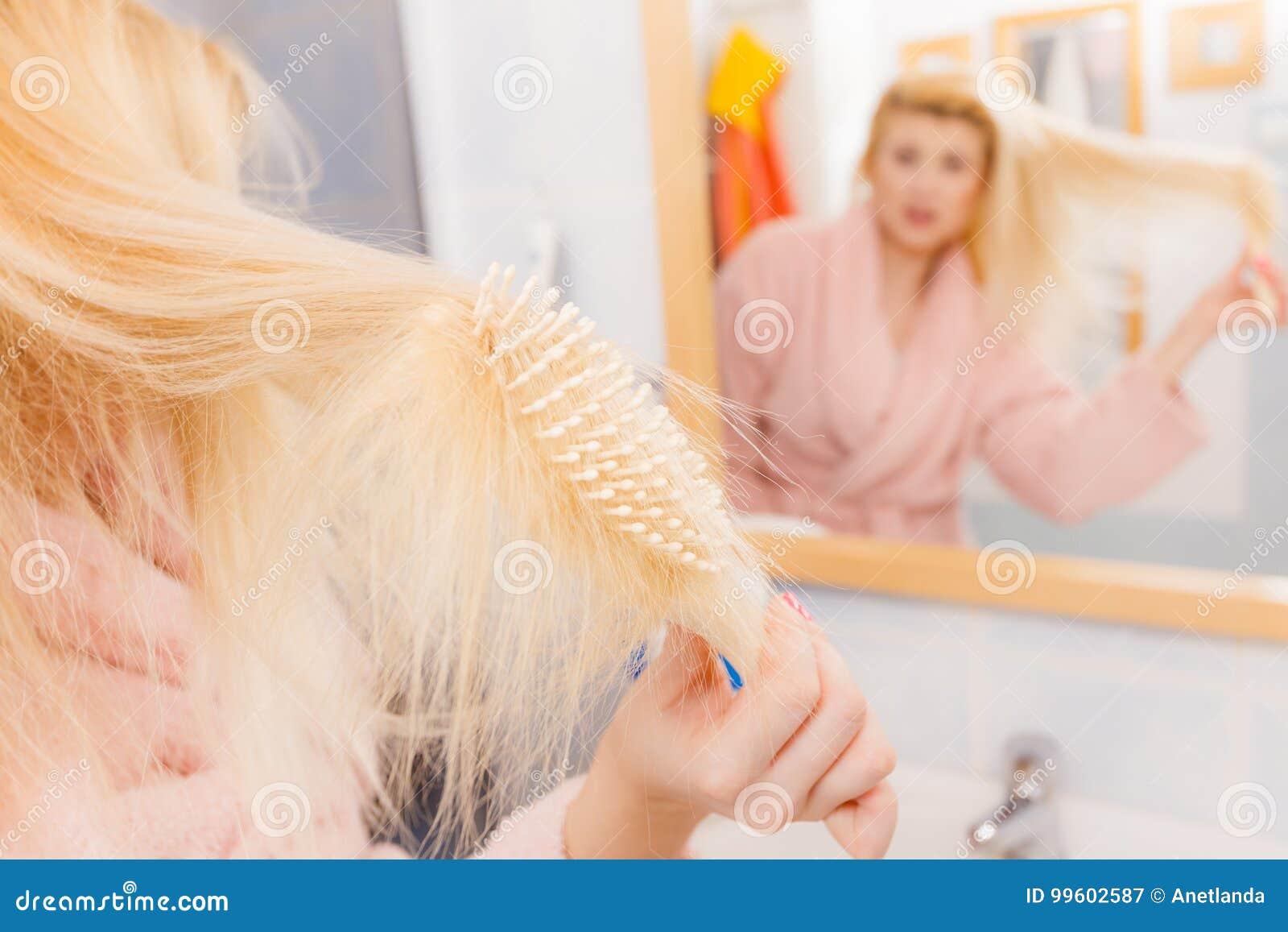 Shocked Woman Wearing Dressing Gown Brushing Her Hair Stock Image ...