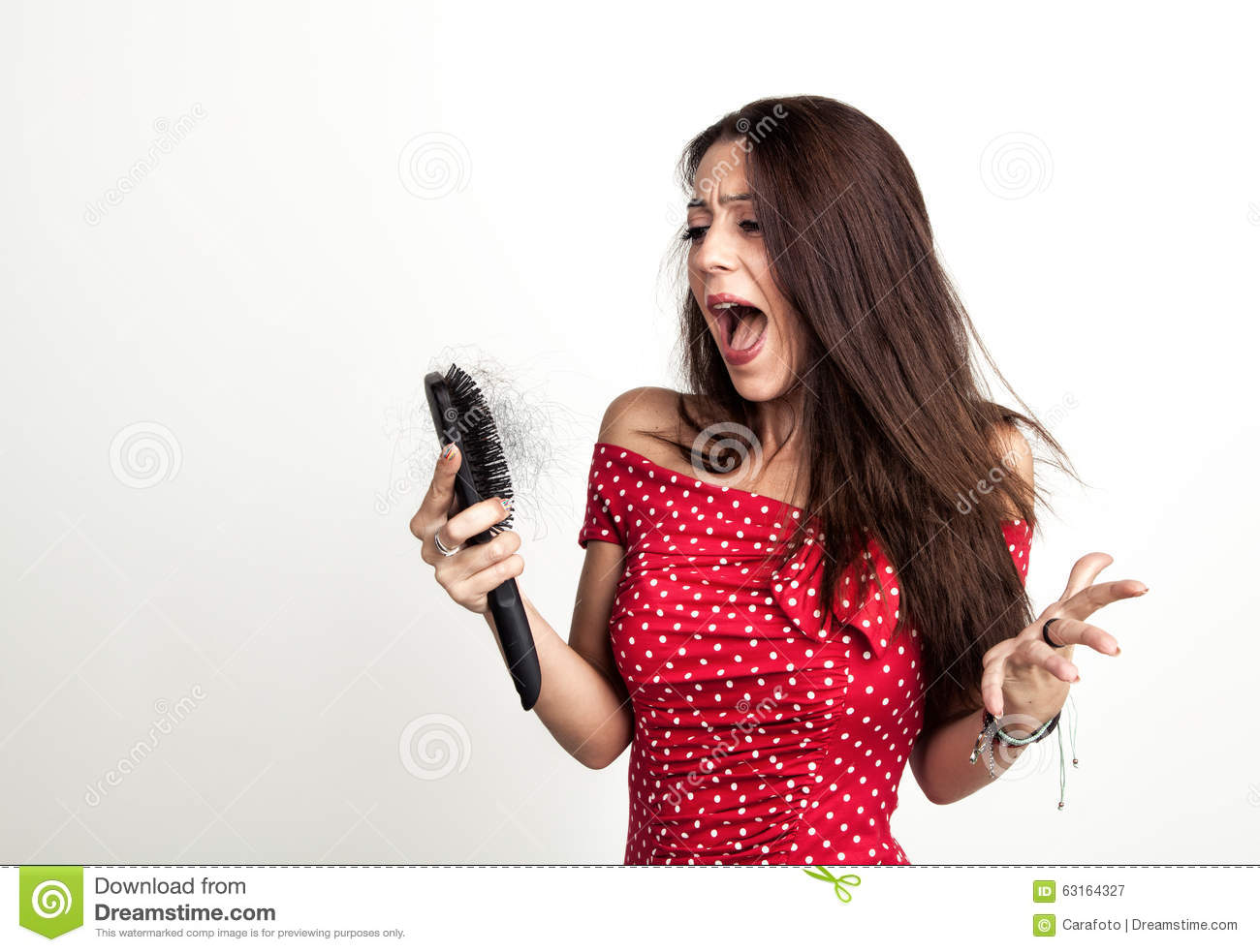 Shocked Young Woman With Hair Loss Stock Image - Image of