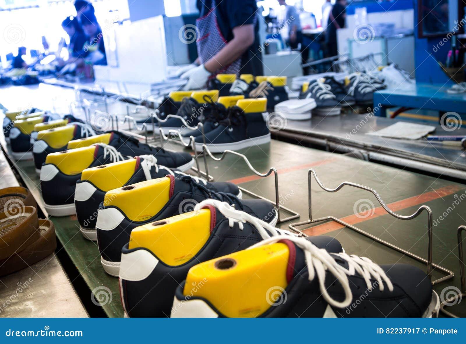 Shoe making factory stock image. Image