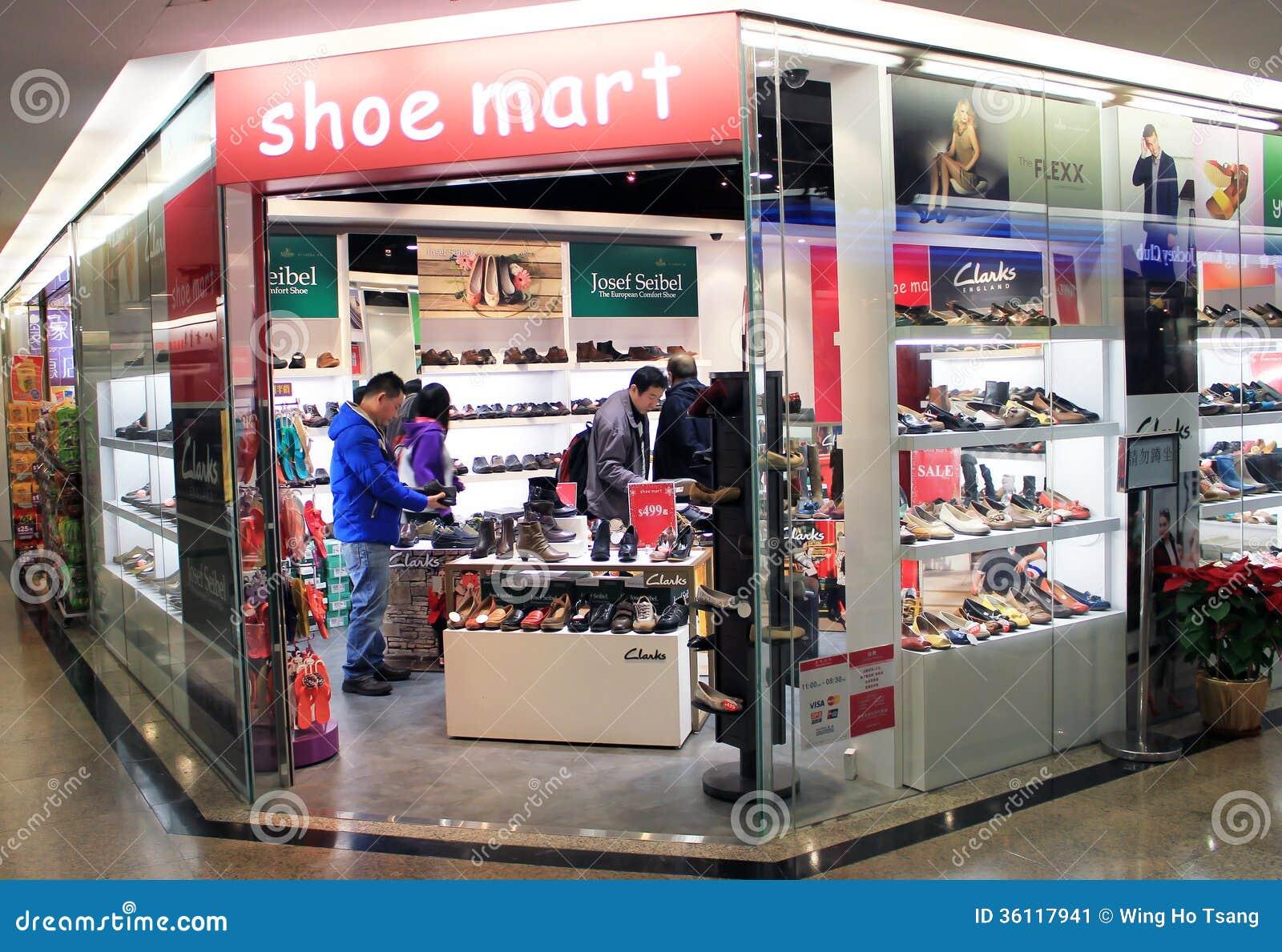 Shoe mart shop, located in Kwai Chung Centre, Hong Kong. shoe mart is
