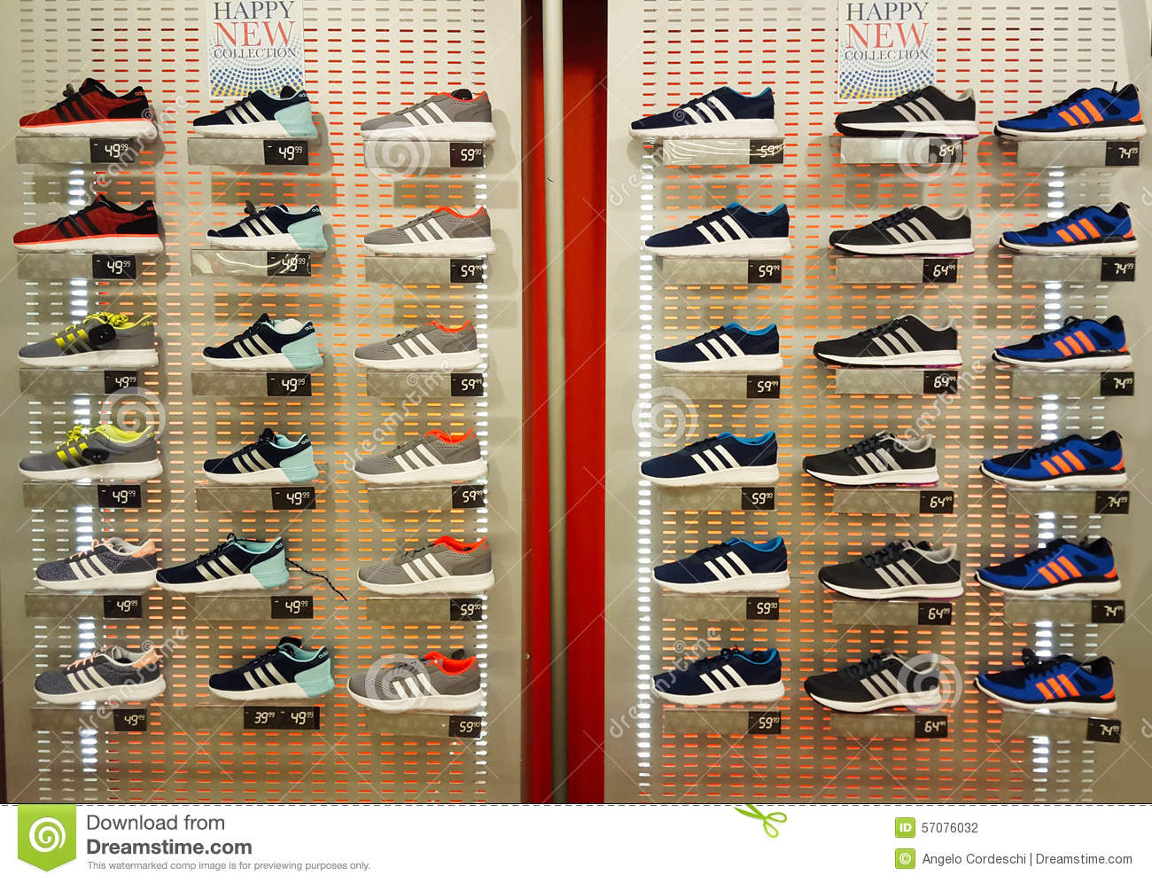 Shoe Shop Shelves With Many Sneakers Editorial