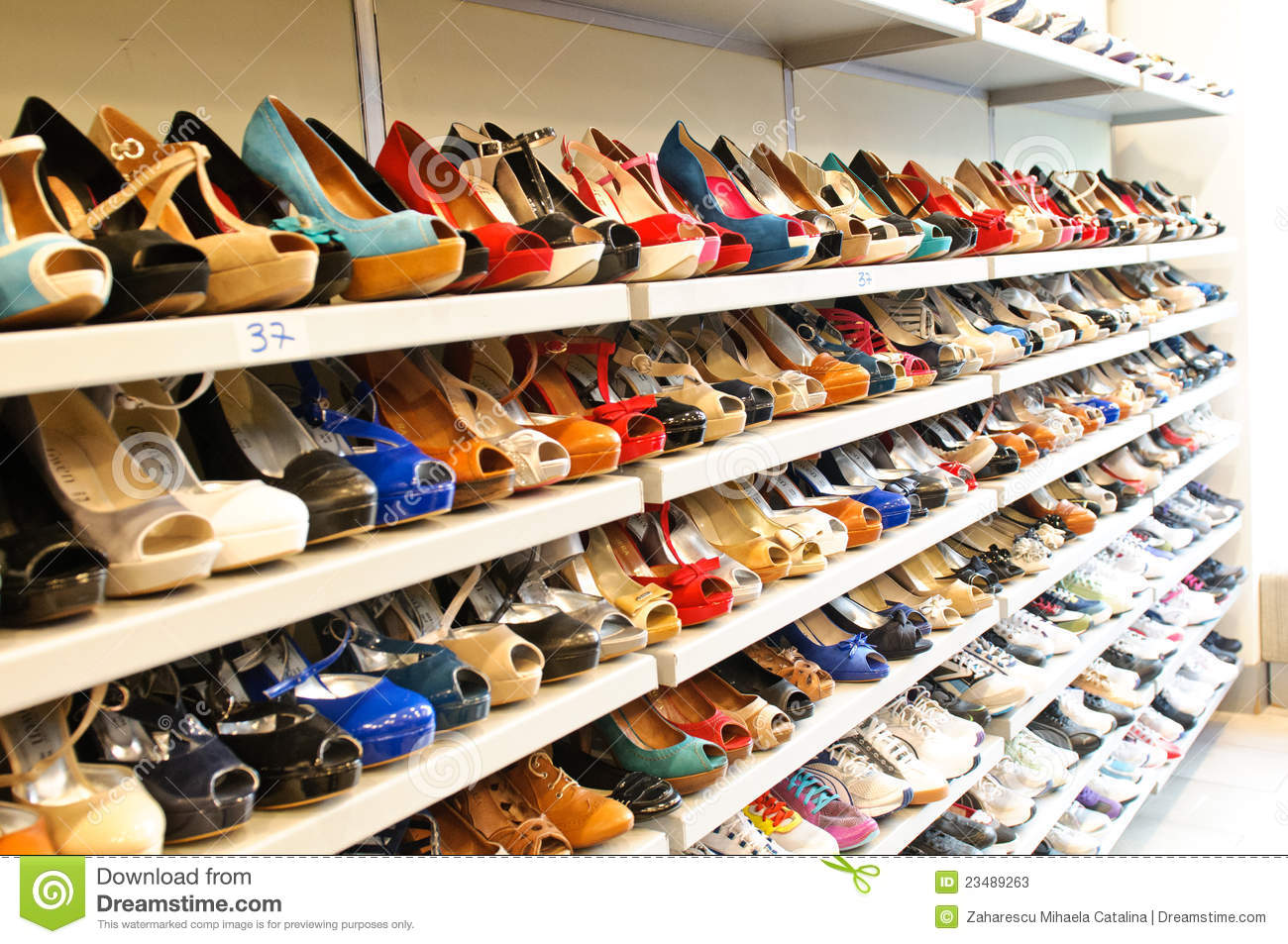 7346c3680 Shoe store in Milan editorial stock photo. Image of shoes - 23489263