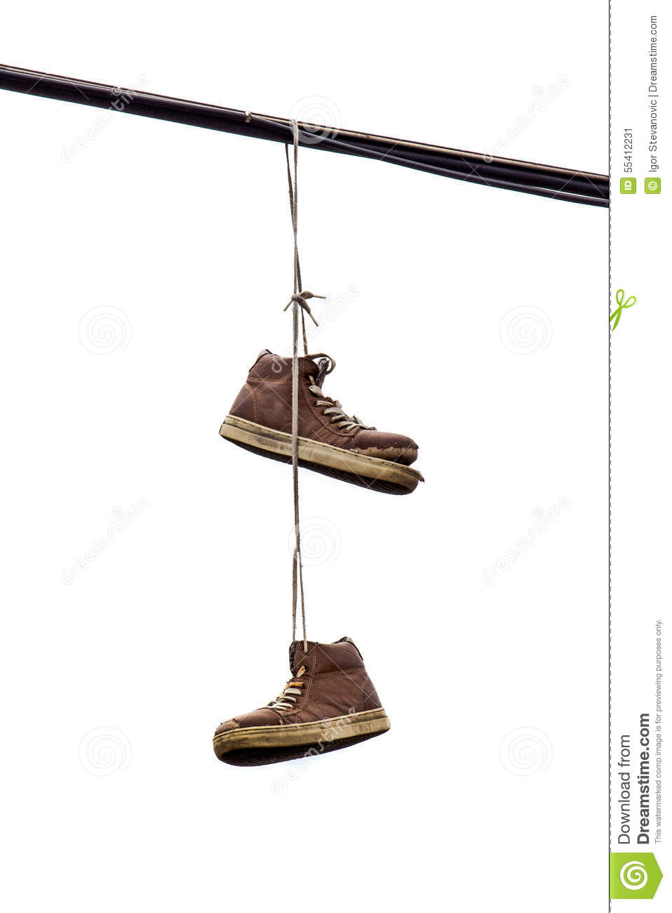 Hanging Pictures On Wire shoe tossing, old sneakers hanging on wire stock photo - image