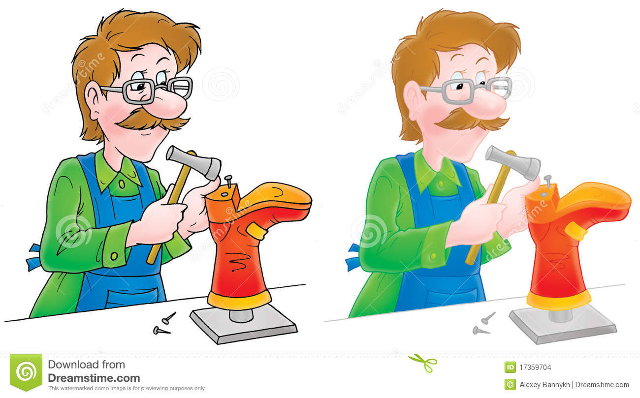 Isolated clipart illustration of a shoemaker mending a boot (2 ...