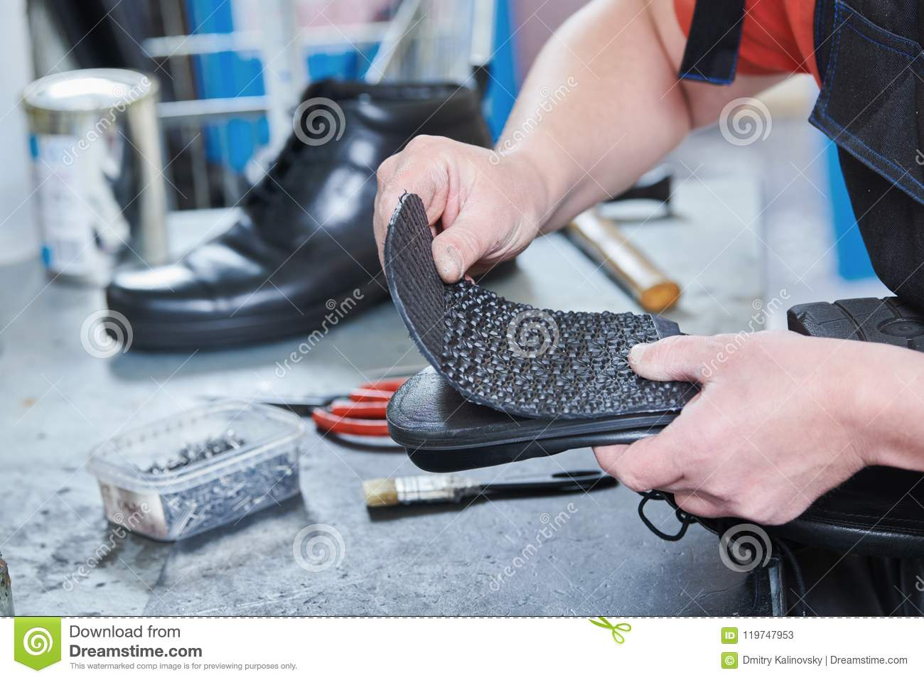 a49131bfbdbb6 Shoemaker Repair Shoe. Glueing The Sole For Male Footwear Stock ...