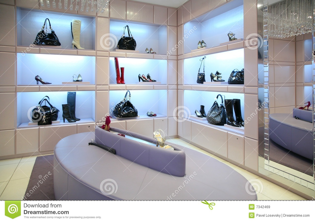 shoes and bags in store royalty free stock images