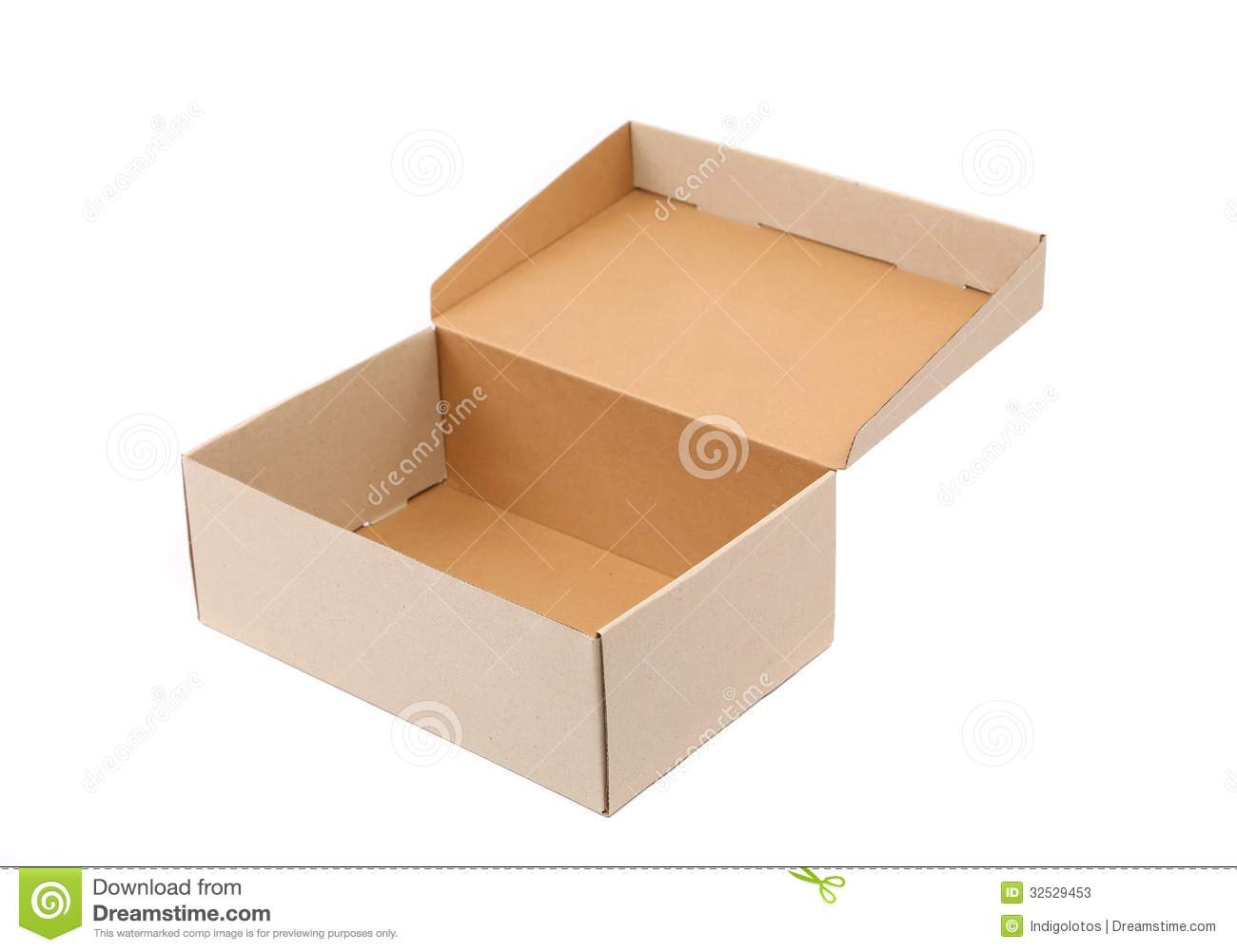 shoes box is located on the white background stock image