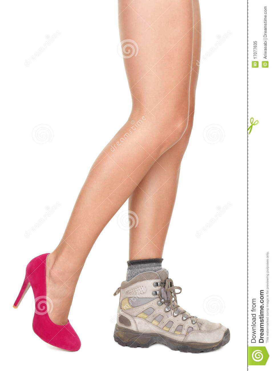 shoes decision concept high heels or sports shoe royalty