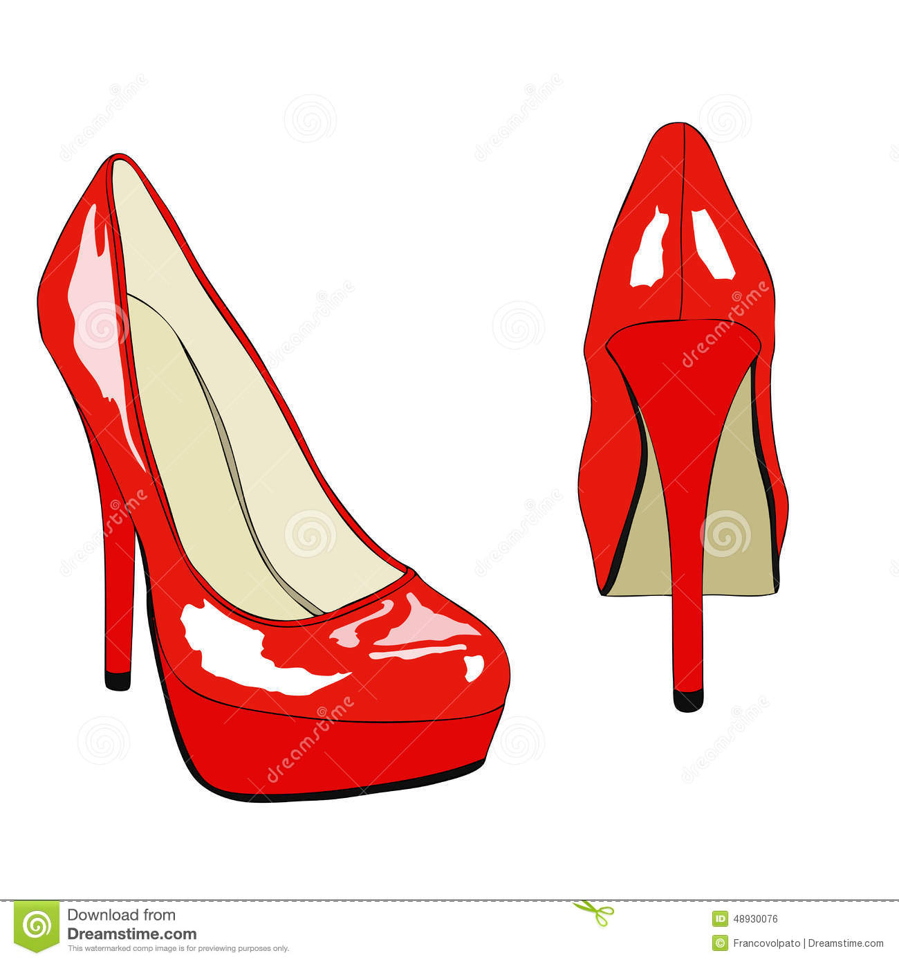 Creative Womens Shoes Isolated On White Vector Illustration  37970896