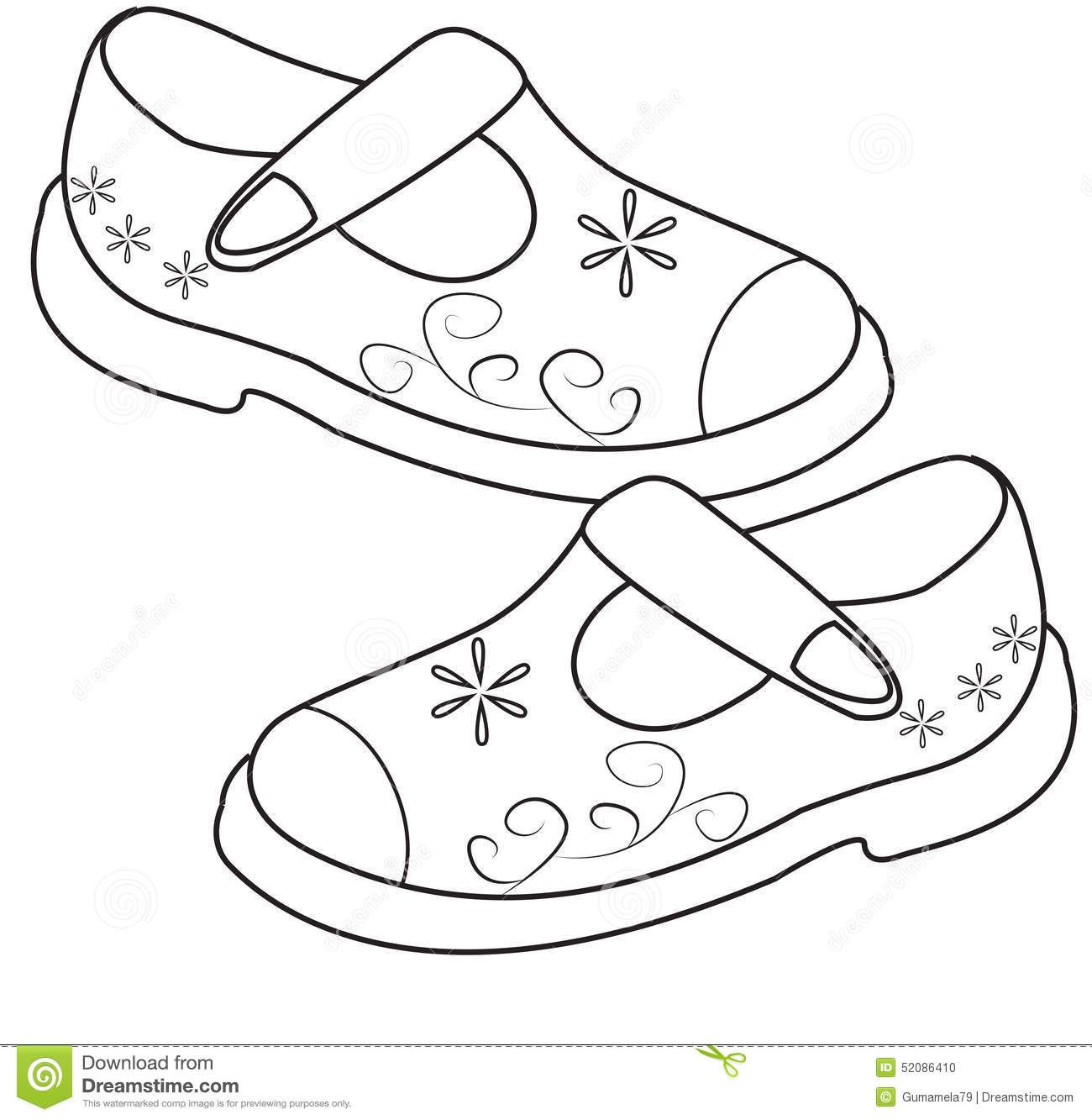 Shoes For Girls Coloring Page Stock Illustration